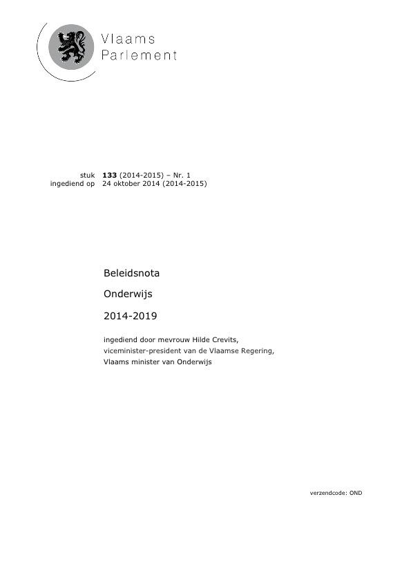 Beleidsnota onderwijs 2014-19 (voorpagina)