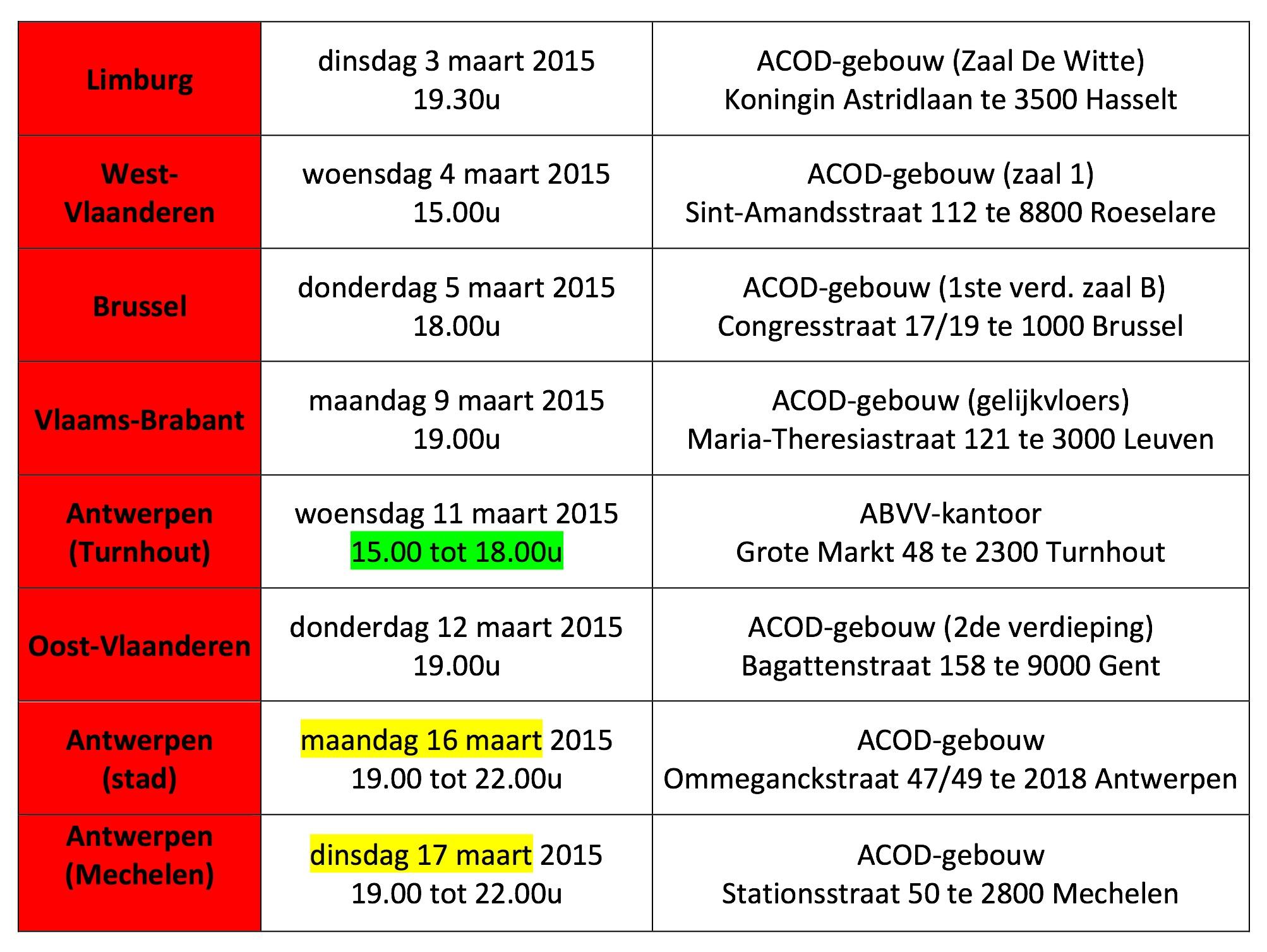 Tabel ledenvergaderingen 1503